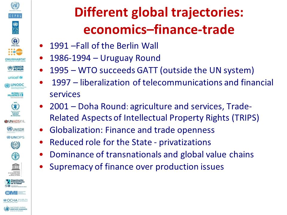 1991 –Fall of the Berlin Wall 1986-1994 – Uruguay Round 1995 – WTO succeeds GATT (outside the UN system) 1997 – liberalization of telecommunications and financial services 2001 – Doha Round : agriculture and services, Trade- Related Aspects of Intellectual Property Rights (TRIPS) Globalization: Finance and trade openness Reduced role for the State - privatizations Dominance of transnationals and global value chains Supremacy of finance over production issues Different global trajectories: economics–finance-trade