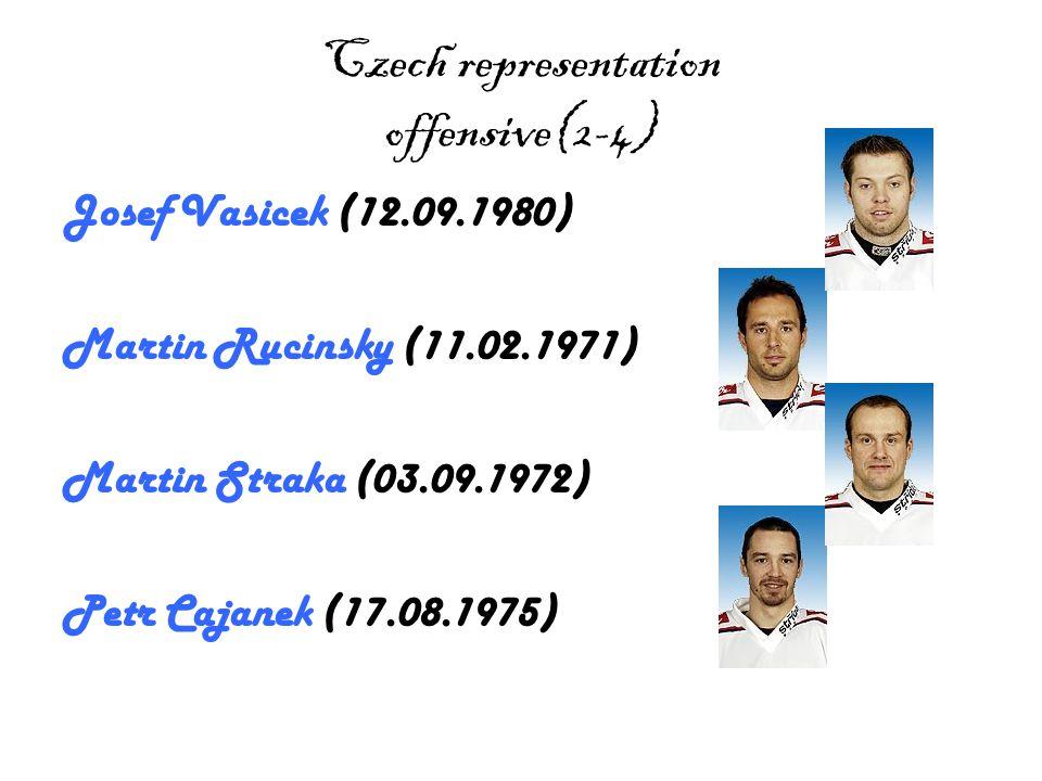 Czech representation offensive (3-4) Petr Prucha (14.09.1982) Petr Sykora (19.11.1976) Radek Dvorak (09.03.1977) Radim Vrbata (13.06.1981)