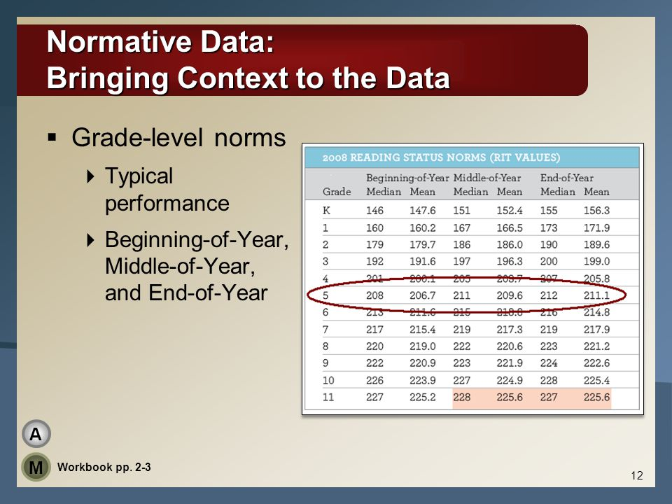 Normative Data: Bringing Context to the Data  Grade-level norms  Typical performance  Beginning-of-Year, Middle-of-Year, and End-of-Year 12 Workboo