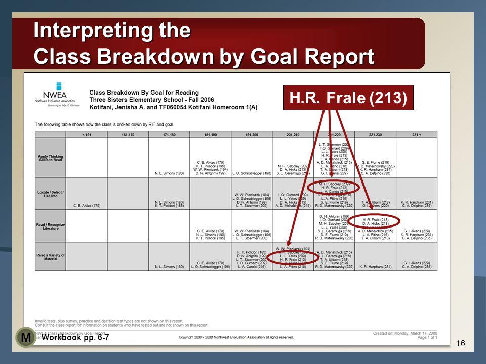 Interpreting the Class Breakdown by Goal Report 16 H.R. Frale (213) Workbook pp. 6-7 M
