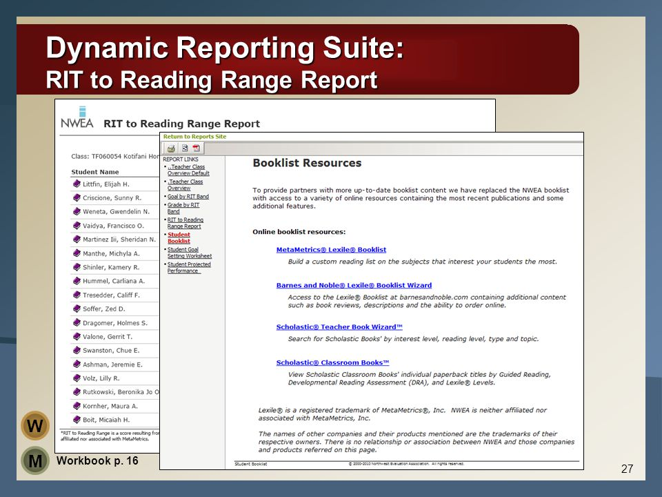 Dynamic Reporting Suite: RIT to Reading Range Report 27 Workbook p. 16 M W