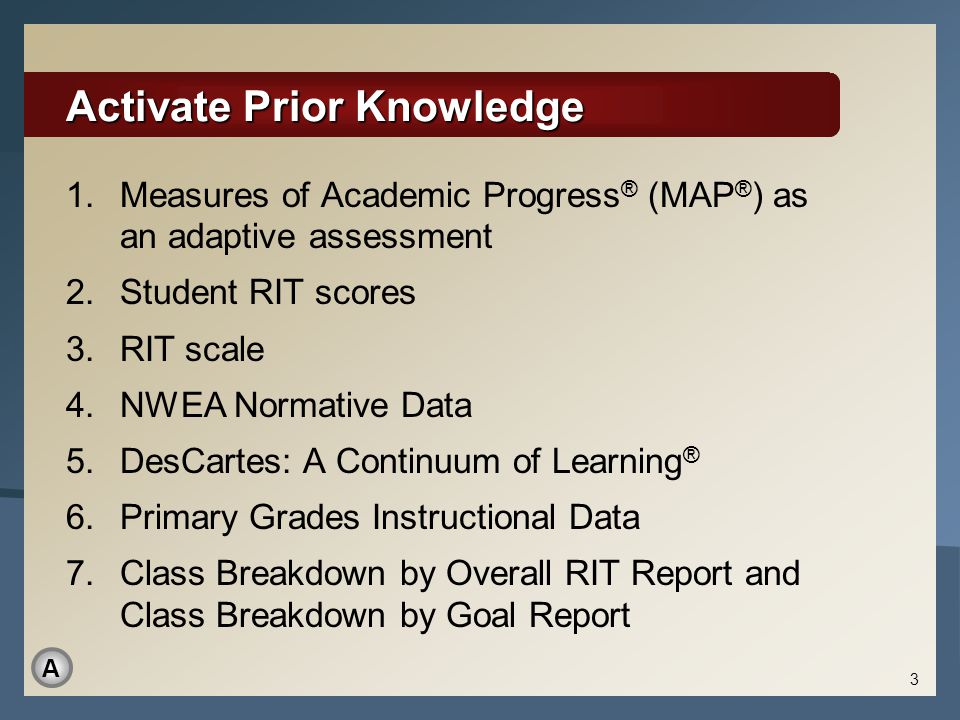 Activate Prior Knowledge 1.Measures of Academic Progress ® (MAP ® ) as an adaptive assessment 2.Student RIT scores 3.RIT scale 4.NWEA Normative Data 5