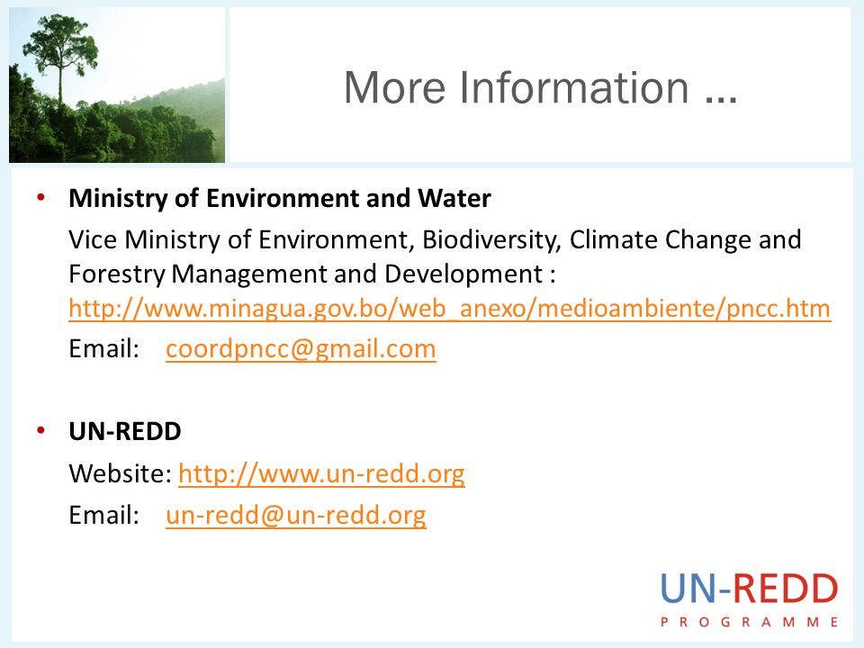 Ministry of Environment and Water Vice Ministry of Environment, Biodiversity, Climate Change and Forestry Management and Development : UN-REDD Website:     More Information …