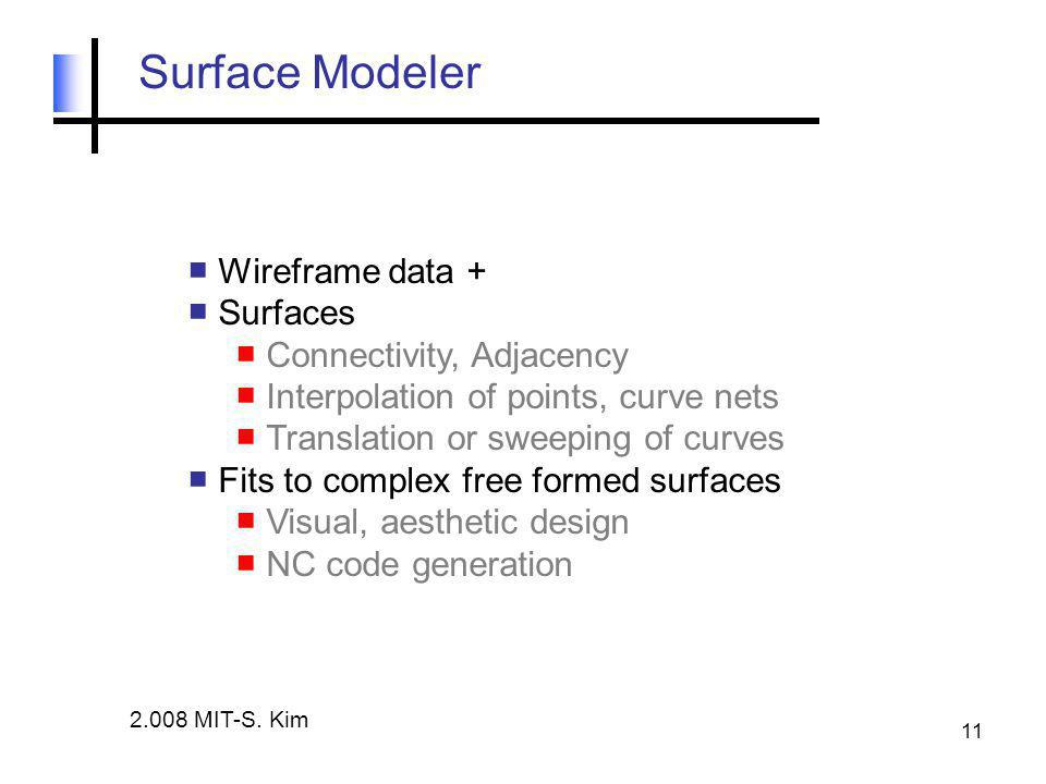 11 Surface Modeler ■ Wireframe data + ■ Surfaces ■ Connectivity, Adjacency ■ Interpolation of points, curve nets ■ Translation or sweeping of curves ■