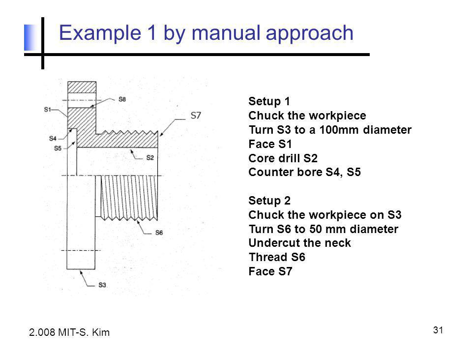 31 Example 1 by manual approach Setup 1 Chuck the workpiece Turn S3 to a 100mm diameter Face S1 Core drill S2 Counter bore S4, S5 Setup 2 Chuck the wo