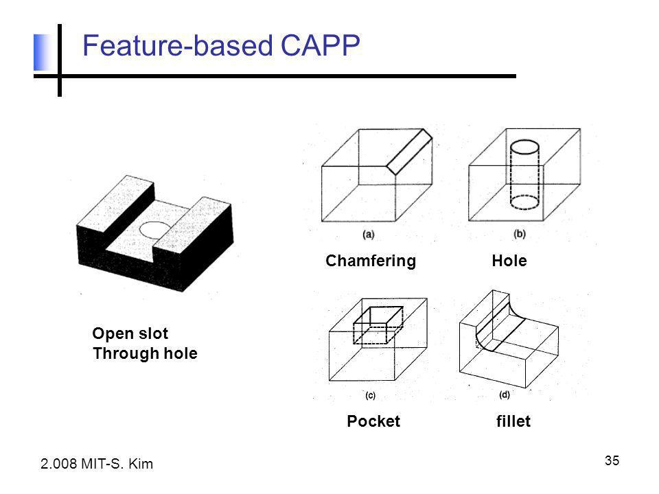 35 Feature-based CAPP 2.008 MIT-S. Kim Open slot Through hole ChamferingHole Pocketfillet