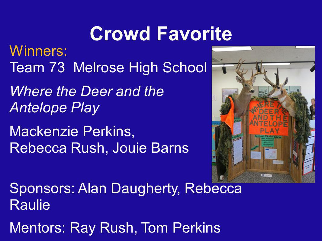 Crowd Favorite Winners: Team 73 Melrose High School Where the Deer and the Antelope Play Mackenzie Perkins, Rebecca Rush, Jouie Barns Sponsors: Alan Daugherty, Rebecca Raulie Mentors: Ray Rush, Tom Perkins