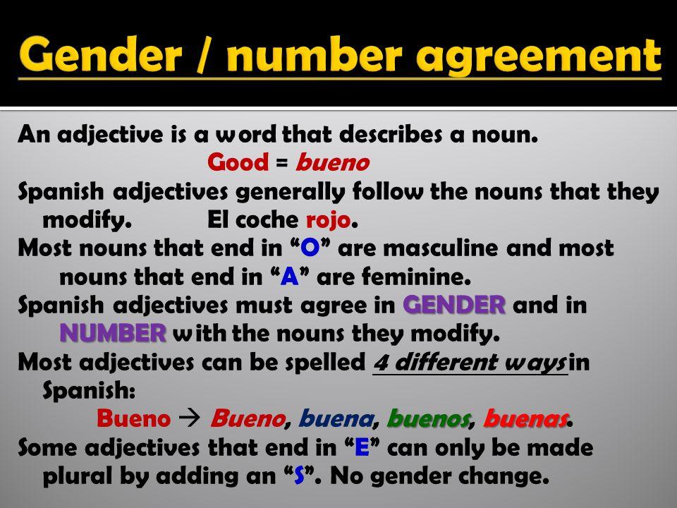 An adjective is a word that describes a noun.
