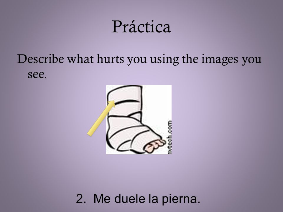 Práctica Describe what hurts you using the images you see. 2. Me duele la pierna.