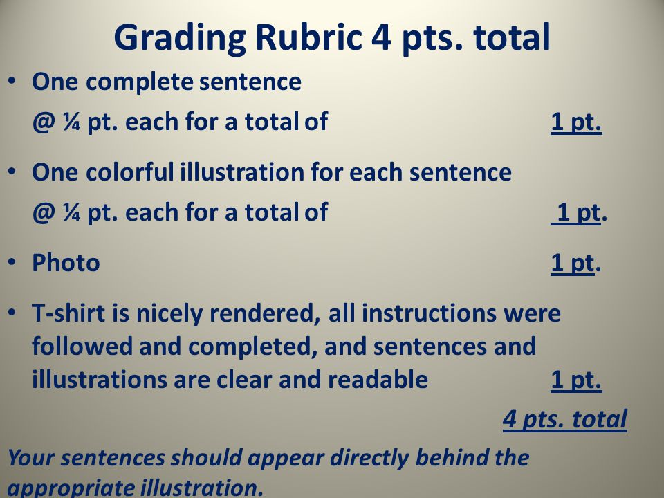 Grading Rubric 4 pts. total One complete ¼ pt.