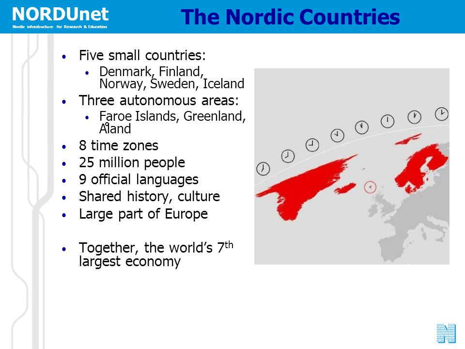NORDUnet Nordic infrastructure for Research & Education The Nordic Countries Five small countries: Denmark, Finland, Norway, Sweden, Iceland Three aut
