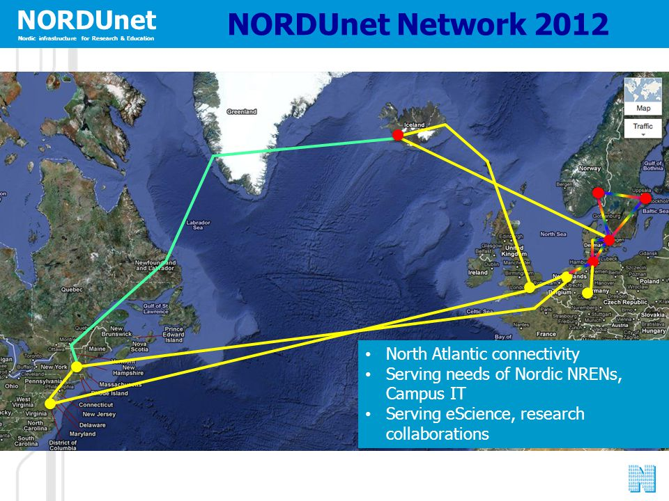 NORDUnet Nordic infrastructure for Research & Education NORDUnet Network 2012 North Atlantic connectivity Serving needs of Nordic NRENs, Campus IT Ser
