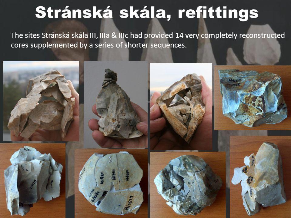 Stránská skála, refittings The sites Stránská skála III, IIIa & IIIc had provided 14 very completely reconstructed cores supplemented by a series of shorter sequences.