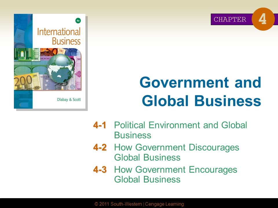 © 2011 South-Western | Cengage Learning Government and Global Business 4-1 4-1Political Environment and Global Business 4-2 4-2How Government Discourages Global Business 4-3 4-3How Government Encourages Global Business CHAPTER 4