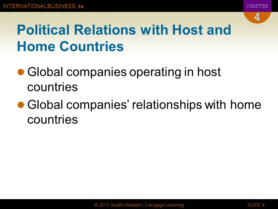 INTERNATIONAL BUSINESS, 4e CHAPTER © 2011 South-Western | Cengage Learning SLIDE 4 4 Political Relations with Host and Home Countries Global companies operating in host countries Global companies' relationships with home countries