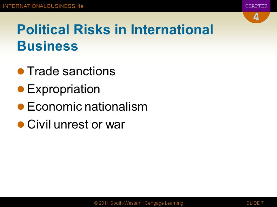 INTERNATIONAL BUSINESS, 4e CHAPTER © 2011 South-Western | Cengage Learning SLIDE 7 4 Political Risks in International Business Trade sanctions Expropriation Economic nationalism Civil unrest or war
