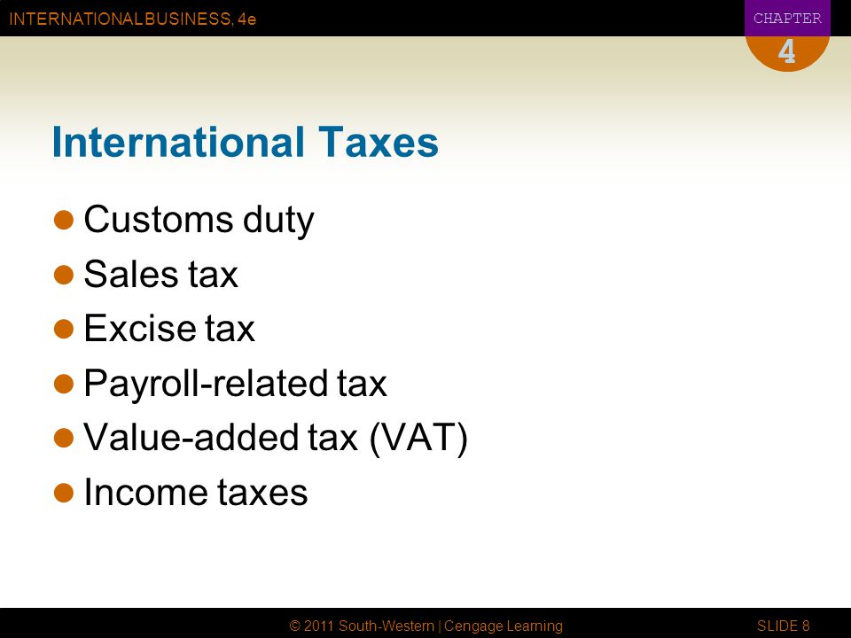 INTERNATIONAL BUSINESS, 4e CHAPTER © 2011 South-Western | Cengage Learning SLIDE 8 4 International Taxes Customs duty Sales tax Excise tax Payroll-related tax Value-added tax (VAT) Income taxes