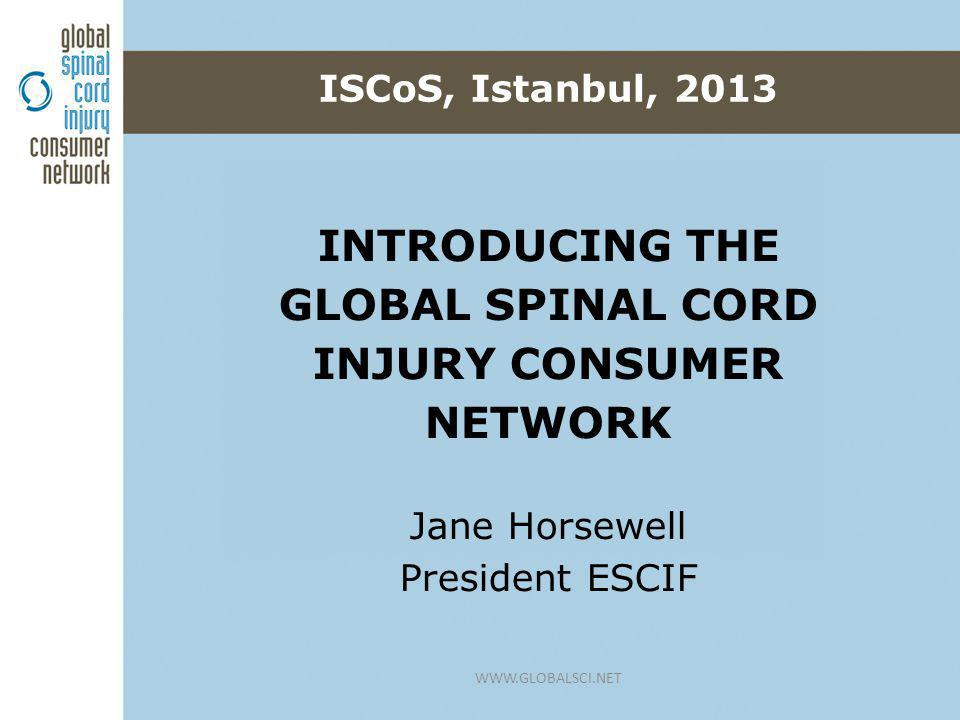 o To establish an active global network of consumer groups and organisations of people living with spinal cord injury o To learn from each other, sharing experience and knowledge o To impact the SCI agenda worldwide Why this initiative.