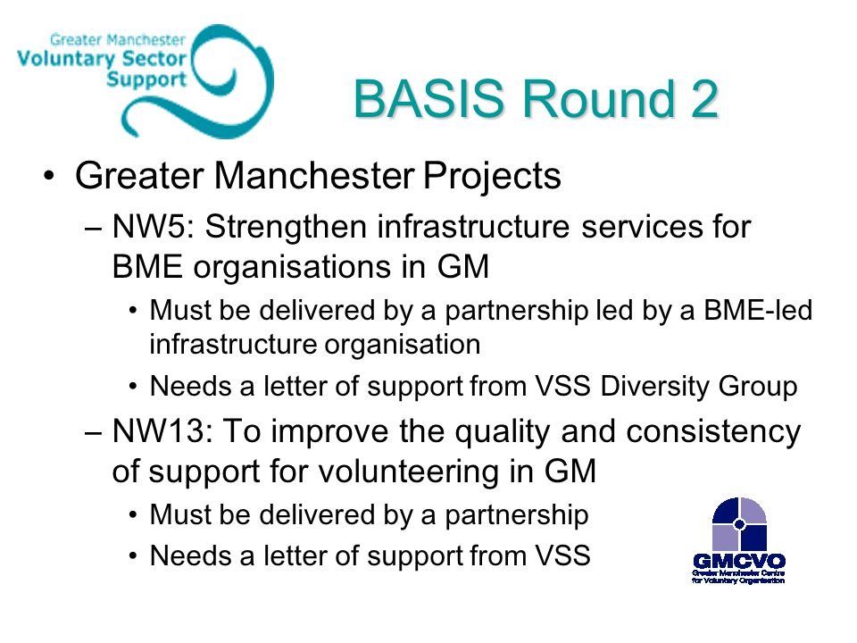 BASIS Round 2 Greater Manchester Projects –NW5: Strengthen infrastructure services for BME organisations in GM Must be delivered by a partnership led