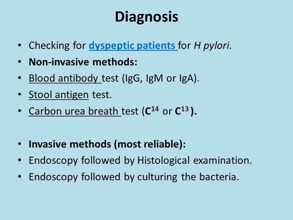 Diagnosis Checking for dyspeptic patients for H pylori.