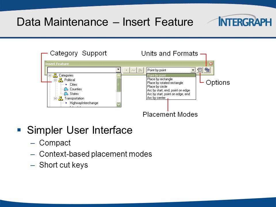 Data Maintenance – Insert Feature  Simpler User Interface –Compact –Context-based placement modes –Short cut keys