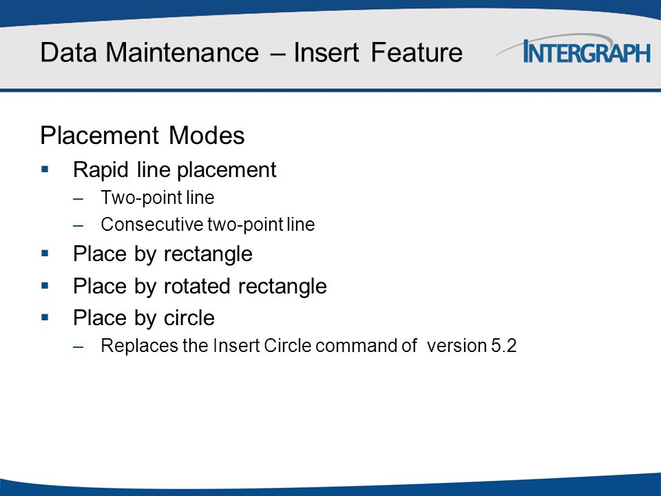 Data Maintenance – Insert Feature Placement Modes  Rapid line placement –Two-point line –Consecutive two-point line  Place by rectangle  Place by r