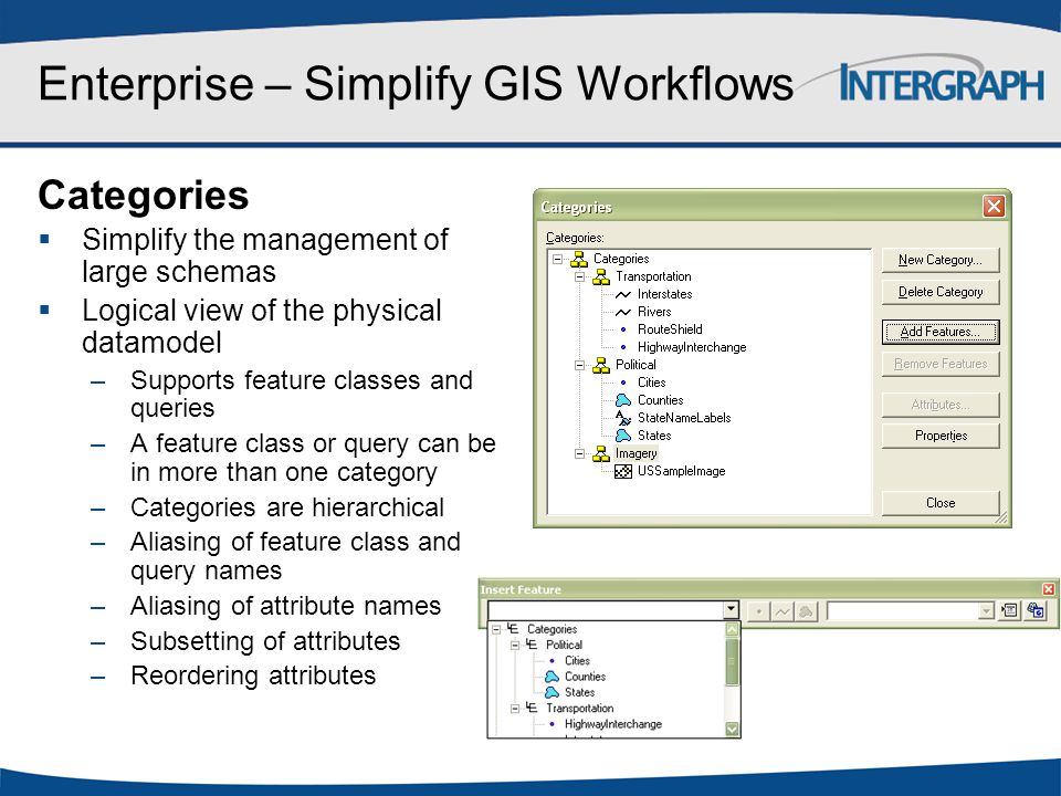 Enterprise – Simplify GIS Workflows Categories  Simplify the management of large schemas  Logical view of the physical datamodel –Supports feature c