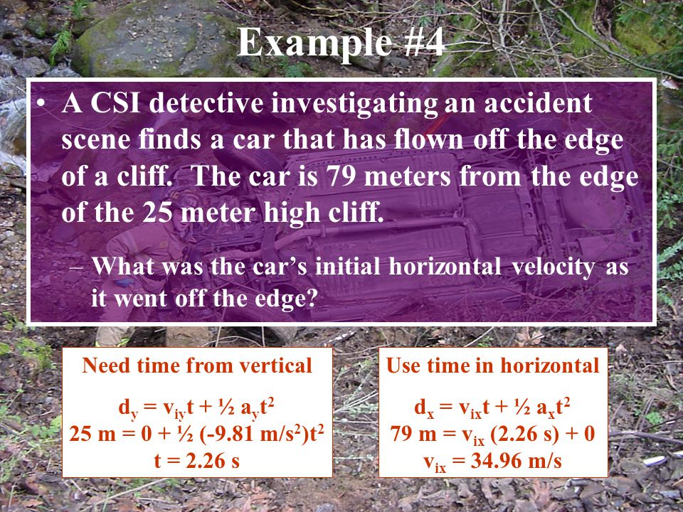 Example #4 A CSI detective investigating an accident scene finds a car that has flown off the edge of a cliff. The car is 79 meters from the edge of t