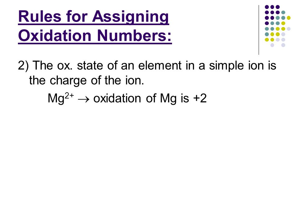 Examples: Assign oxidation #'s to each element: e) Cr 2 O 7 2-