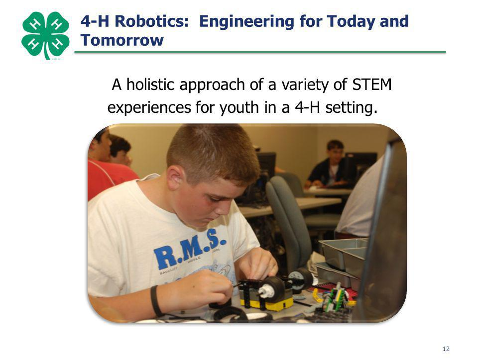 A holistic approach of a variety of STEM experiences for youth in a 4-H setting.