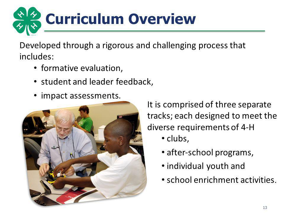Curriculum Overview 13 Developed through a rigorous and challenging process that includes: formative evaluation, student and leader feedback, impact assessments.
