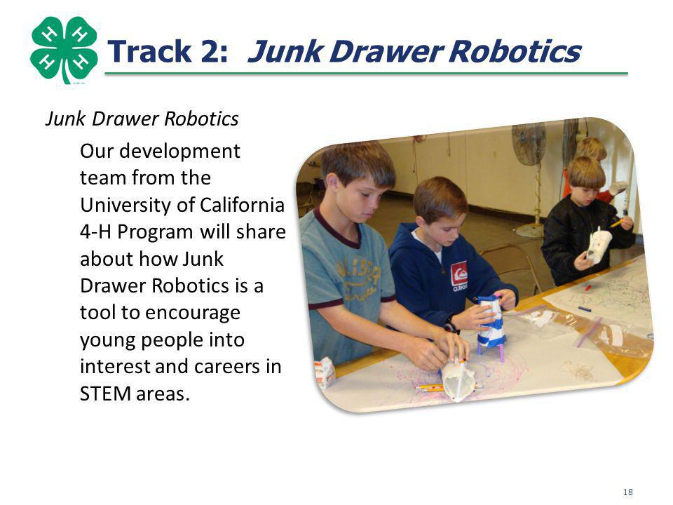 Track 2: Junk Drawer Robotics Junk Drawer Robotics Our development team from the University of California 4-H Program will share about how Junk Drawer Robotics is a tool to encourage young people into interest and careers in STEM areas.