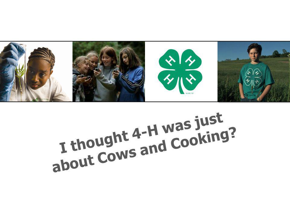 I thought 4-H was just about Cows and Cooking?