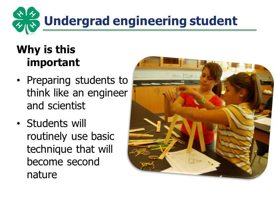 Undergrad engineering student Why is this important Preparing students to think like an engineer and scientist Students will routinely use basic techn