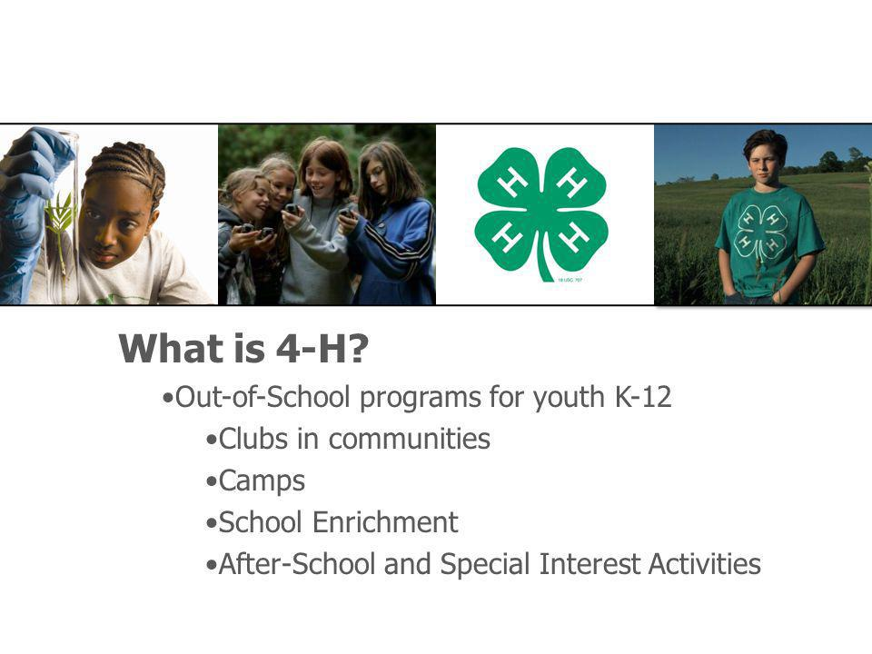 What is 4-H? Out-of-School programs for youth K-12 Clubs in communities Camps School Enrichment After-School and Special Interest Activities