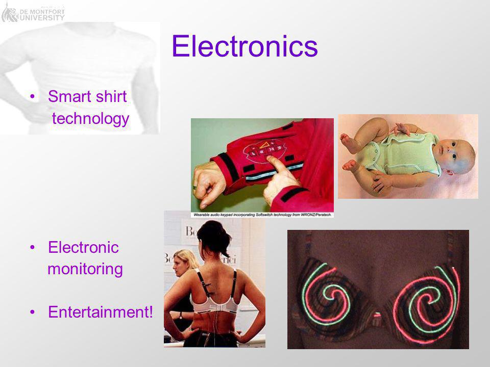 Electronics Smart shirt technology Electronic monitoring Entertainment!