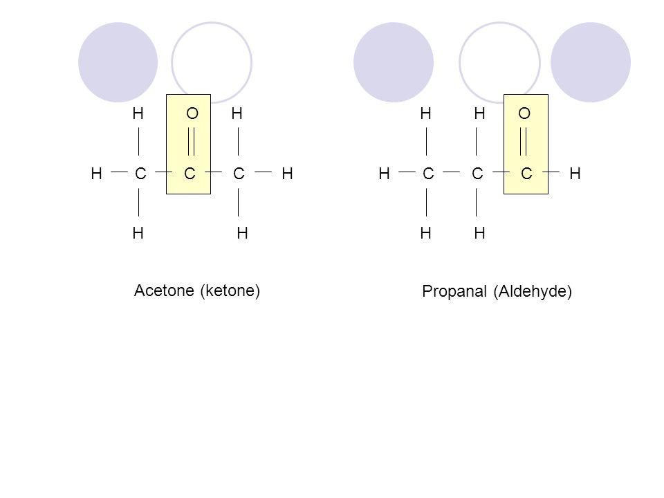H O H H C C C H H H H H O H C C C H H H Acetone (ketone) Propanal (Aldehyde)