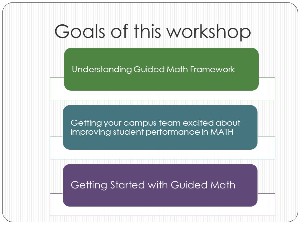 Goals of this workshop Understanding Guided Math Framework Getting your campus team excited about improving student performance in MATH Getting Started with Guided Math