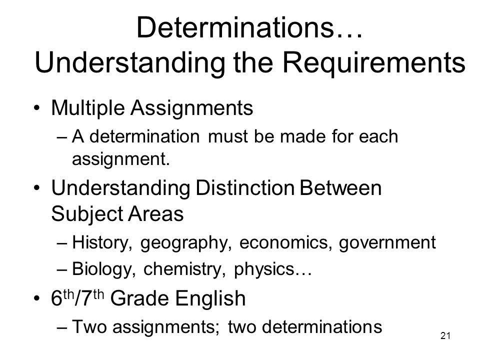 21 Determinations… Understanding the Requirements Multiple Assignments –A determination must be made for each assignment.