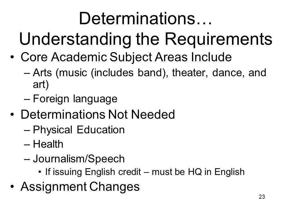 23 Determinations… Understanding the Requirements Core Academic Subject Areas Include –Arts (music (includes band), theater, dance, and art) –Foreign language Determinations Not Needed –Physical Education –Health –Journalism/Speech If issuing English credit – must be HQ in English Assignment Changes