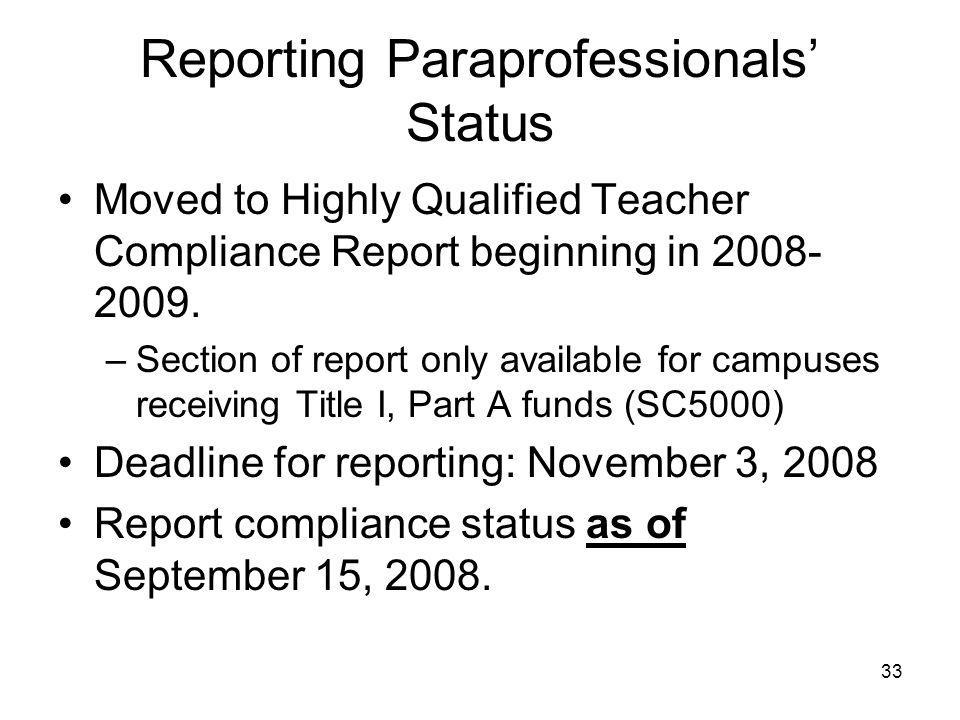 33 Reporting Paraprofessionals' Status Moved to Highly Qualified Teacher Compliance Report beginning in 2008- 2009.