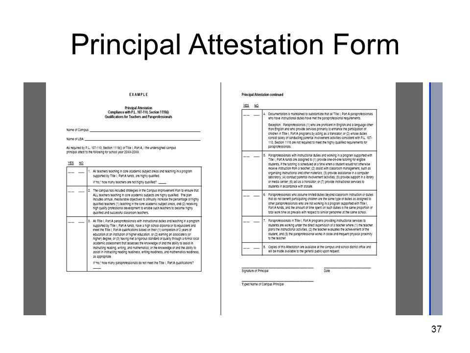 37 Principal Attestation Form