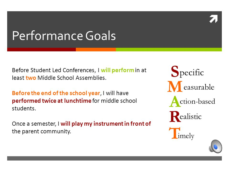  M easurable S pecific A ction-based R ealistic T imely Performance Goals Before Student Led Conferences, I will perform in at least two Middle School Assemblies.