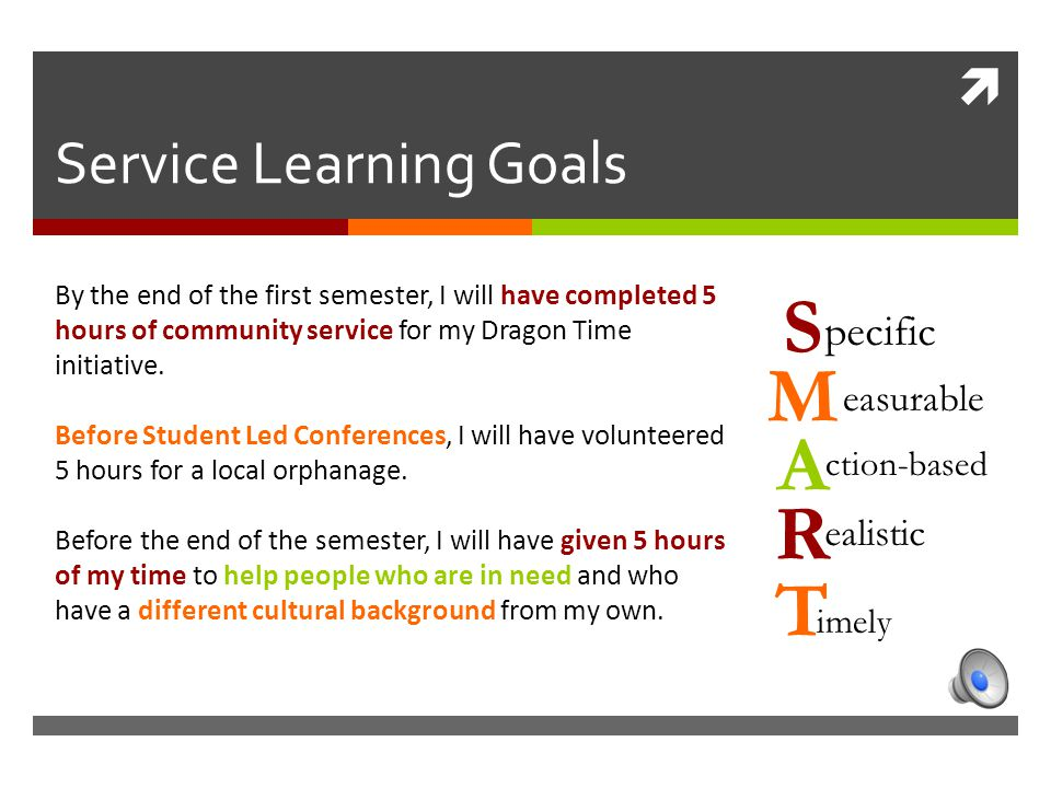  Service Learning Goals By the end of the first semester, I will have completed 5 hours of community service for my Dragon Time initiative.