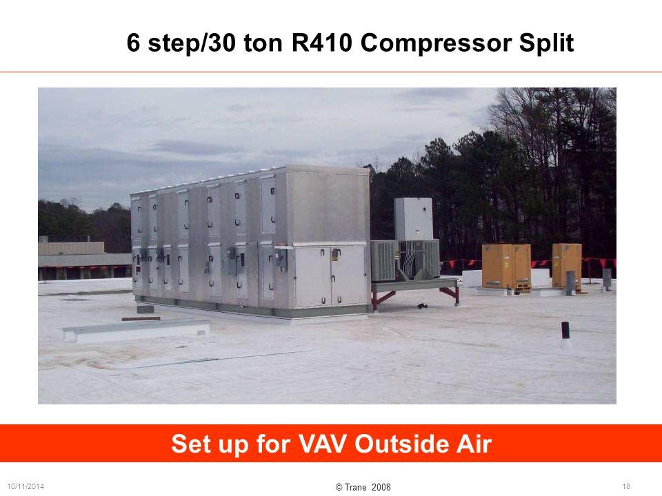 © Trane 2008 10/11/201418 6 step/30 ton R410 Compressor Split Set up for VAV Outside Air