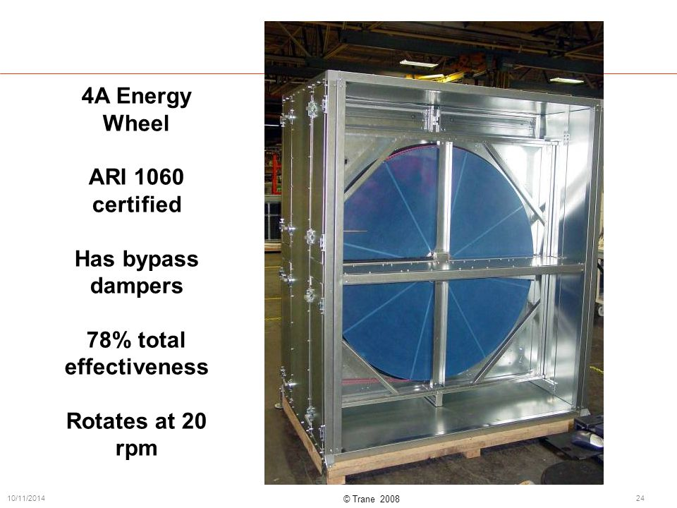 © Trane 2008 10/11/201424 4A Energy Wheel ARI 1060 certified Has bypass dampers 78% total effectiveness Rotates at 20 rpm