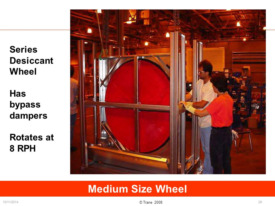 © Trane 2008 10/11/201428 Medium Size Wheel Series Desiccant Wheel Has bypass dampers Rotates at 8 RPH