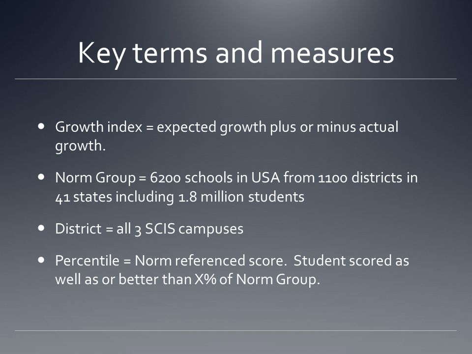 Key terms and measures Growth index = expected growth plus or minus actual growth.