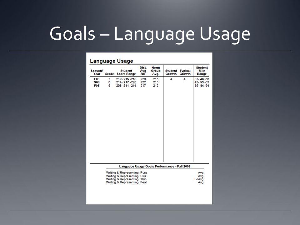 Goals – Language Usage