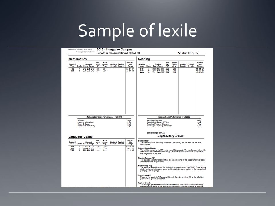 Sample of lexile
